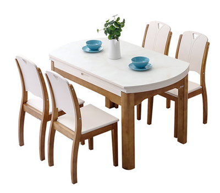 现代简约实木圆桌家用折叠餐桌